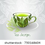 porcelain cup decorated with...   Shutterstock .eps vector #750168604