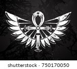 ankh painted in black chalk on...   Shutterstock .eps vector #750170050