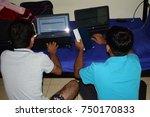 indian boys digital group study | Shutterstock . vector #750170833