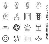 thin line icon set   bulb  head ...   Shutterstock .eps vector #750176773