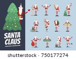 big set of funny cartoon santa... | Shutterstock .eps vector #750177274