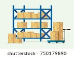 warehouse shelves and cardboard ...   Shutterstock .eps vector #750179890