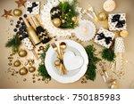 christmas table setting. gold... | Shutterstock . vector #750185983