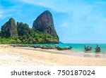 view of boat on railay beach at ... | Shutterstock . vector #750187024