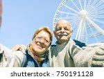 happy retired senior couple... | Shutterstock . vector #750191128