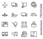 thin line icon set   plane ... | Shutterstock .eps vector #750191668