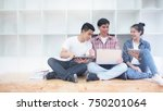 group of attractive young... | Shutterstock . vector #750201064
