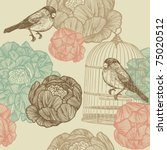 Bird And Cages. Pattern Design