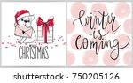 merry christmas collection with ... | Shutterstock .eps vector #750205126