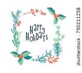 greeting card with christmas... | Shutterstock .eps vector #750211258