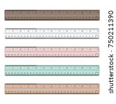 colorful rulers  millimeters ... | Shutterstock .eps vector #750211390