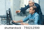in busy engineering bureau two... | Shutterstock . vector #750212500