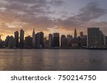 sunset panorama of new york... | Shutterstock . vector #750214750