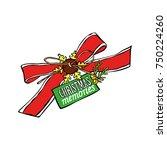 christmas memories. red ribbon. ... | Shutterstock .eps vector #750224260