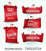 santa holding christmas... | Shutterstock .eps vector #750225724