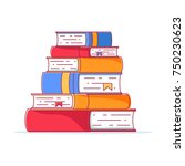 pile of books in a flat style ... | Shutterstock .eps vector #750230623