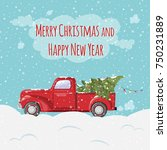 christmas and new year greeting ... | Shutterstock .eps vector #750231889