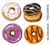 Donuts Painted Line Against...