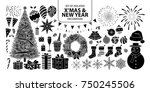 set of isolated silhouette... | Shutterstock .eps vector #750245506