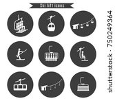 set of ski cable lift icons for ... | Shutterstock .eps vector #750249364