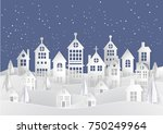 winter snow urban countryside... | Shutterstock .eps vector #750249964
