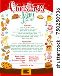 chistmas menu layout with... | Shutterstock .eps vector #750250936
