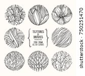 hand drawn floral textures made ... | Shutterstock .eps vector #750251470