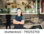 beautiful young female cook and ... | Shutterstock . vector #750252703