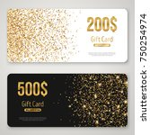 gift card design with gold... | Shutterstock .eps vector #750254974