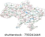 ukraine road and highway map.... | Shutterstock .eps vector #750261664