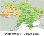 high detailed ukraine physical... | Shutterstock .eps vector #750261808