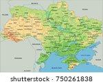high detailed ukraine physical... | Shutterstock .eps vector #750261838