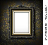 black vintage picture frame on... | Shutterstock .eps vector #750263014