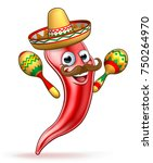a cartoon spicy red pepper... | Shutterstock .eps vector #750264970