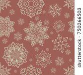 seamless winter red and beige... | Shutterstock .eps vector #750266503