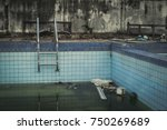 old abandoned swimming pool is...   Shutterstock . vector #750269689