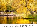 colorful autumn park with lake... | Shutterstock . vector #750271018