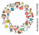 kids drawing kindergarten... | Shutterstock .eps vector #750272908