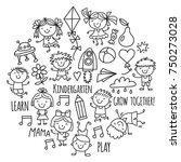 kids drawing kindergarten...   Shutterstock .eps vector #750273028