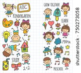 kids drawing kindergarten... | Shutterstock .eps vector #750273058