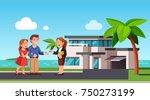 realtor passing keys to modern... | Shutterstock .eps vector #750273199