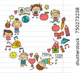 kids drawing kindergarten... | Shutterstock .eps vector #750273238