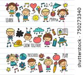 kids drawing kindergarten... | Shutterstock .eps vector #750273340