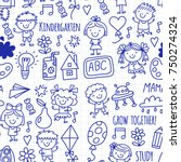 seamless pattern kids drawing... | Shutterstock .eps vector #750274324
