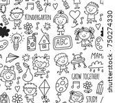 seamless pattern kids drawing...   Shutterstock .eps vector #750274330