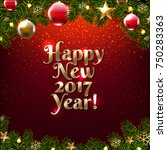 happy new year poster with... | Shutterstock .eps vector #750283363