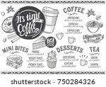 coffee drink menu for... | Shutterstock .eps vector #750284326