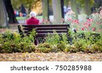 depressed and sad old woman... | Shutterstock . vector #750285988