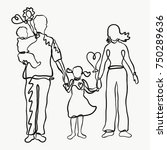 family  drawn by one line ... | Shutterstock . vector #750289636