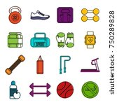 gym icons set. doodle... | Shutterstock .eps vector #750289828